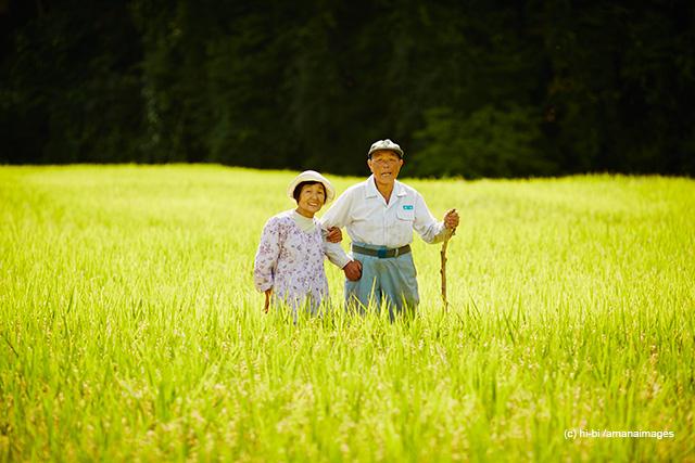 「稲田に立つ農家夫婦」(c)hi-bi/amanaimages